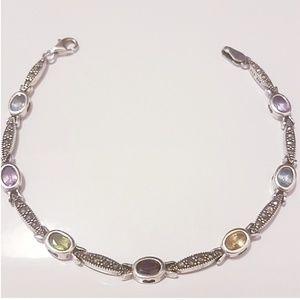 Marcasite sterling silver bracelet gem stones